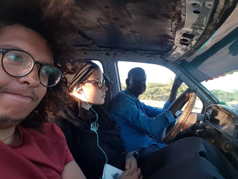 Inside a car crossing the Djibouti land border
