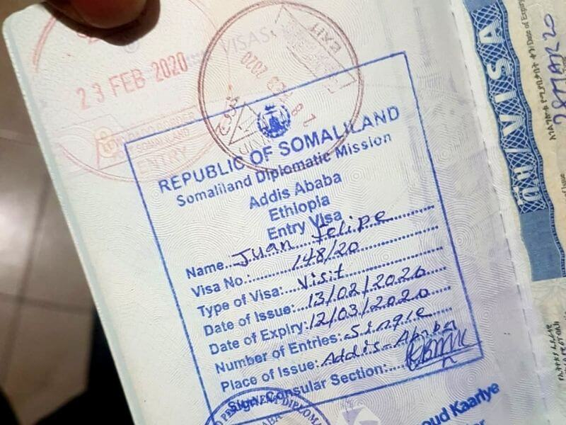 Somaliland Visa from the diplomatic mission in Addis Ababa