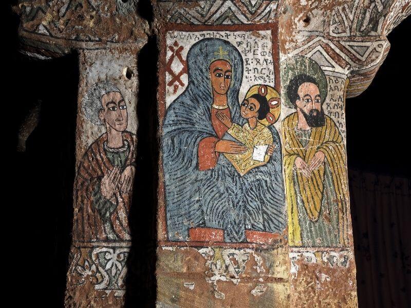 Religious art inside the Abuna Yemata Guh church