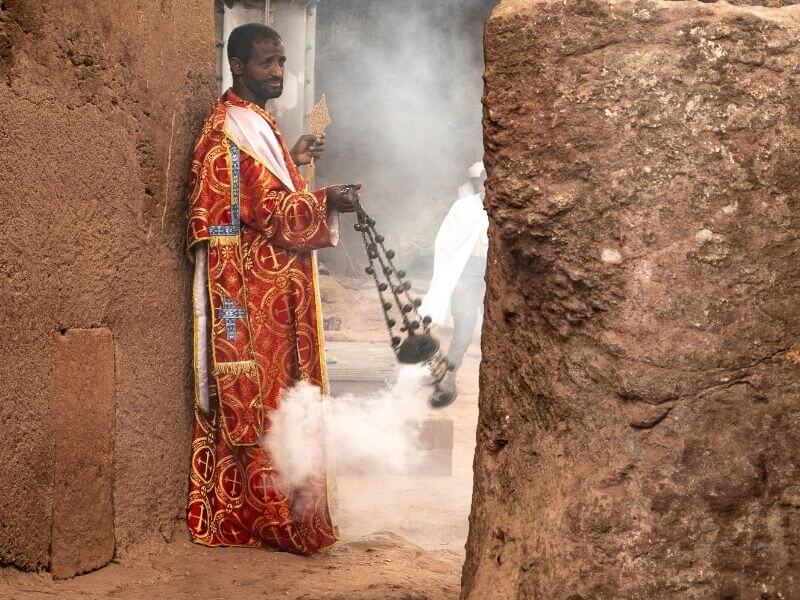 Ethiopian priest in Lalibela - Ethiopia-rock-church