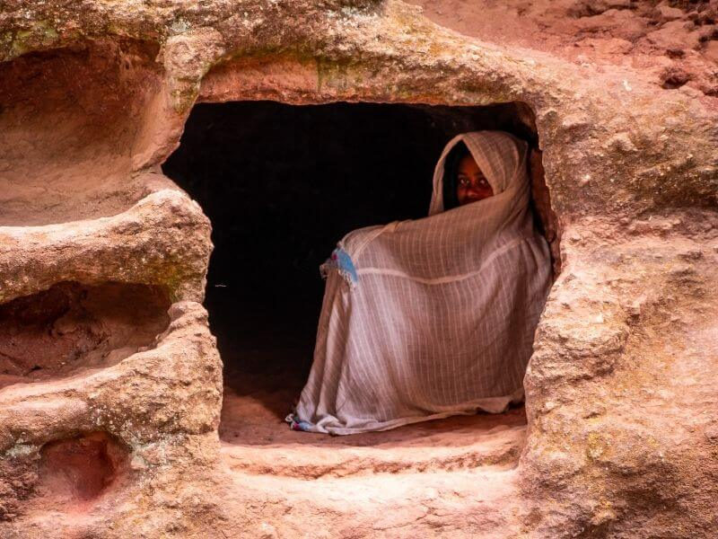 Locals find shelter and warm in churches excavated from a rock