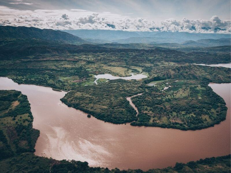 Aerial view of the Madgalena RIver