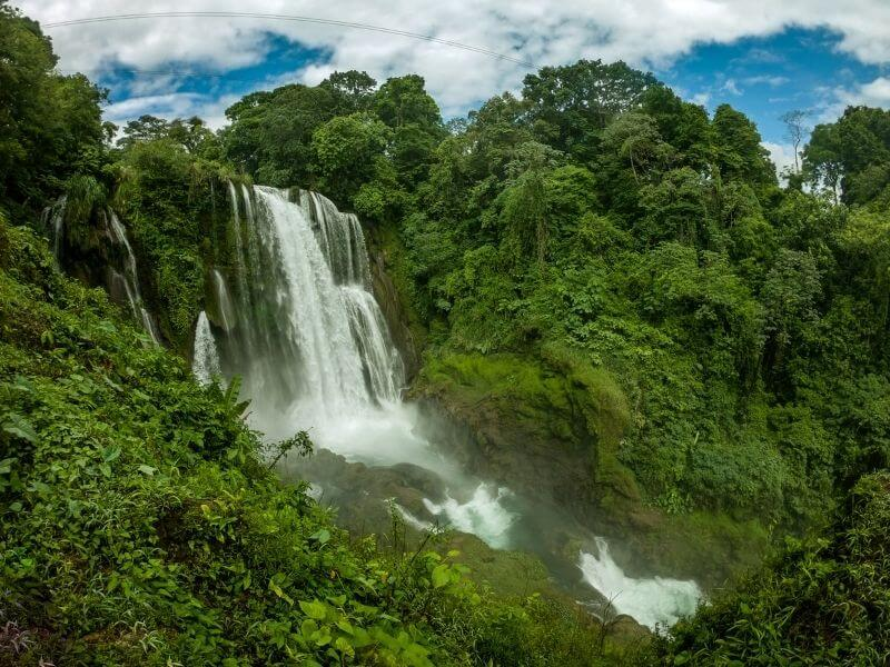 Aerial view of the Pulhapanzak Waterfalls in Honduras
