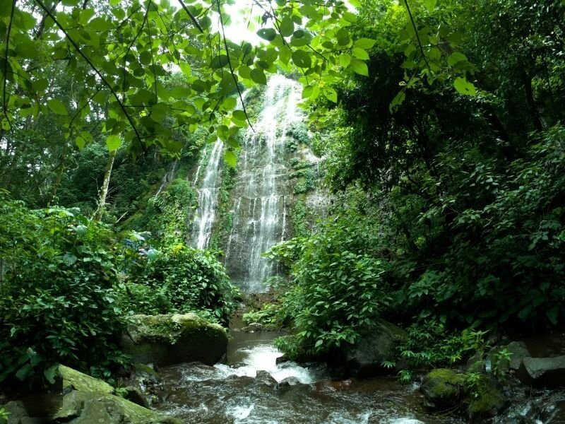 View of one of the waterfalls in Juayua