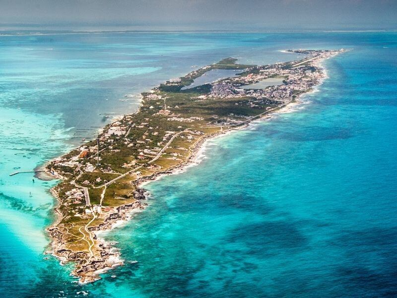 View of Isla Mujeres from the air