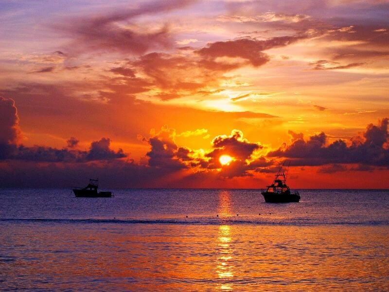 Sunset in Isla Mujeres at Playa Norte