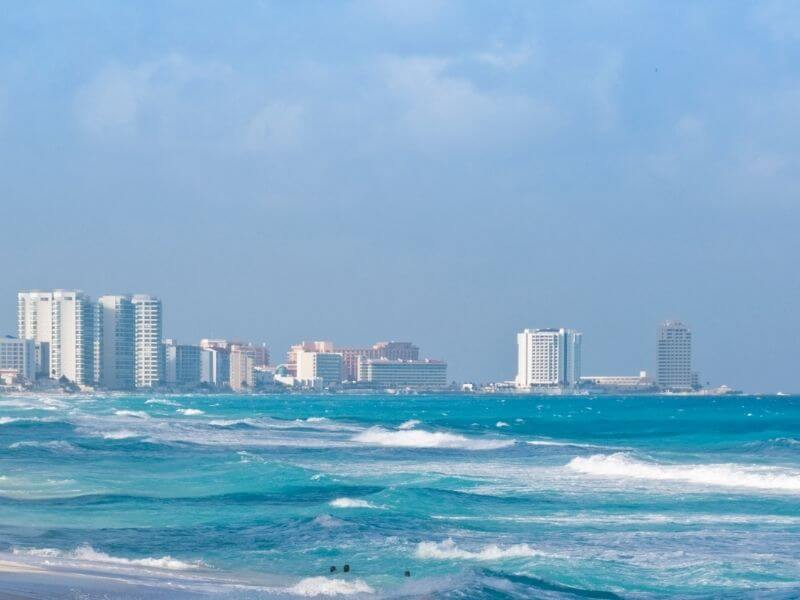 View of Cancun from the coastline