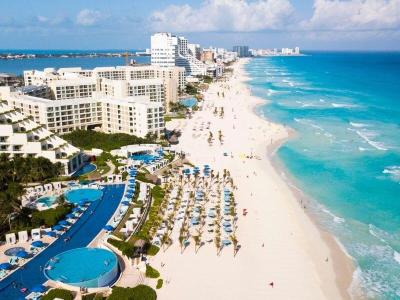 Aerial view of the hotel district in Cancun