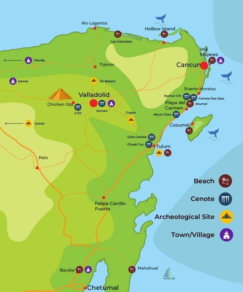 Road Trip Map in Yucatan Mexico