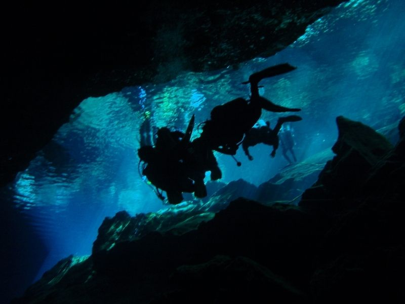 Underwater diving in a cenote