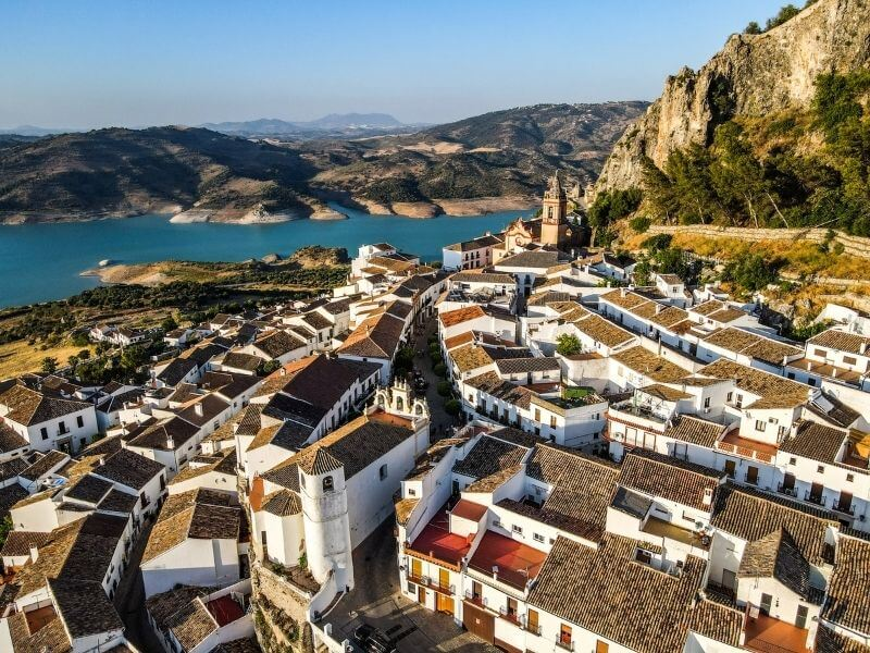 Zahara de la Sierra from the air - white villages in Andalucia