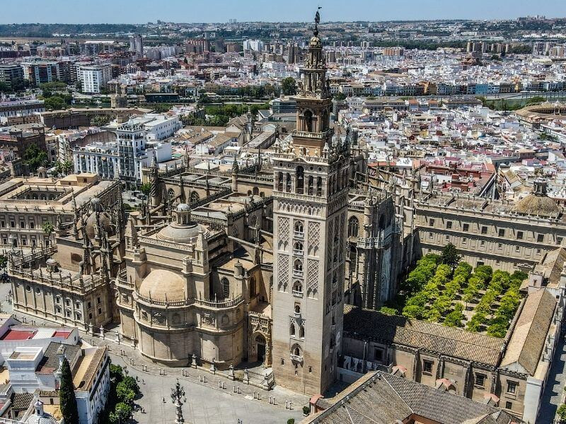 Aerial view of the Cathedral in Seville