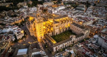 Cathedral Seville with a drone