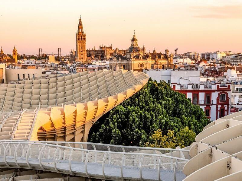 Sunset view from Las Setas in Seville historic center