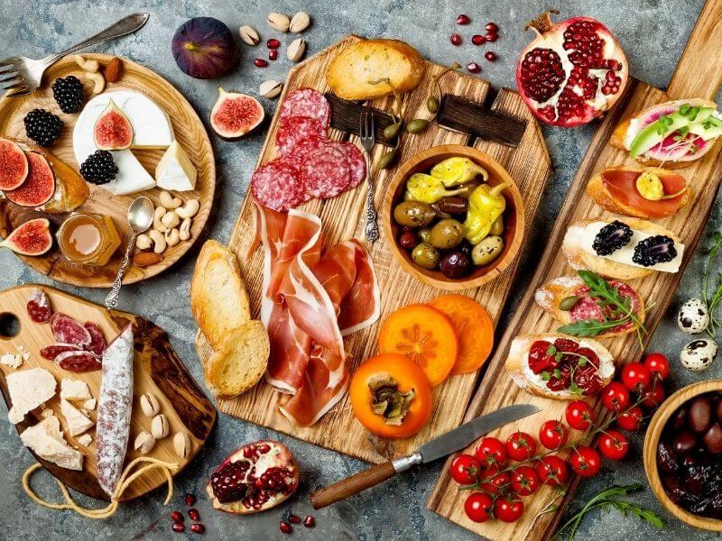 Plate full of tapas in Spain