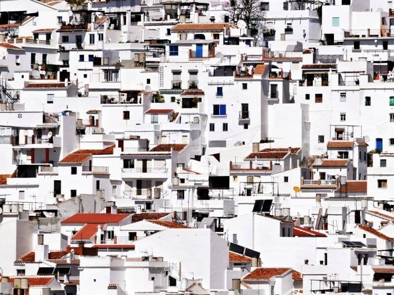 White houses in a pueblo blanco in Andalucia