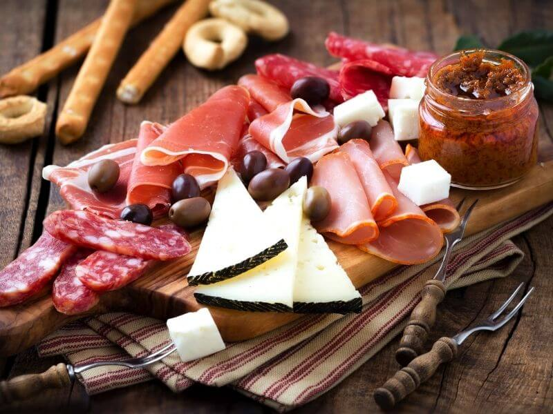 A plate of meats and cheese in Spain