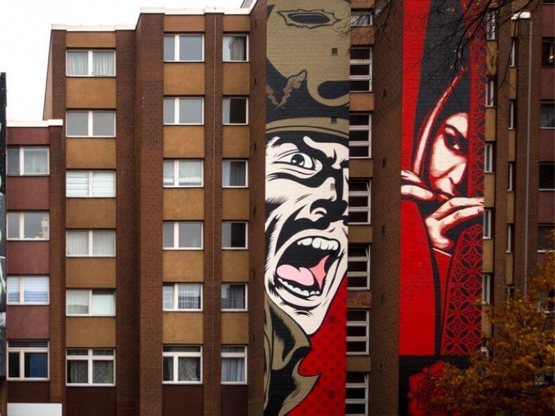 Shepard Fairey murals in Berlin Bulowstrasse