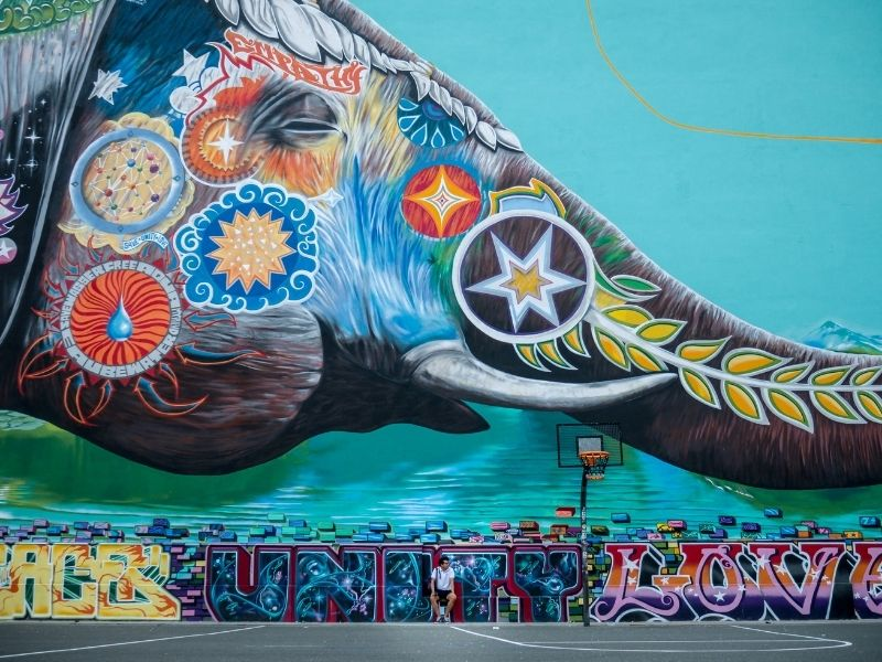 Mural Berlin Elephant Playing With a World Balloon by Jadore Tong